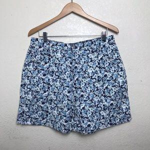 Vintage Blue Floral High Waisted Denim Shorts